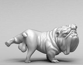 Funny pissing english bulldog 3D print model