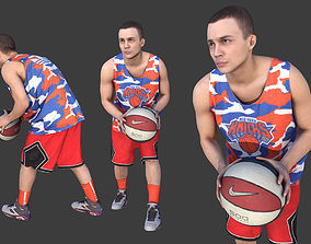 3D model Basketball Player Holding the Ball