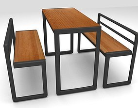 3D model Fast food bench and chairs