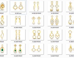 52 Female Women Lady Drop Earrings 3dm render details 1