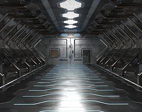 3D High Poly Sci Fi hangar model