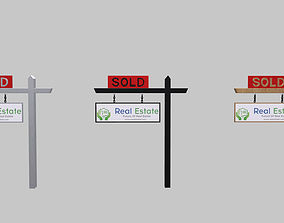 Realistic Signage Real Estate Wooden Sign Board low-poly 3