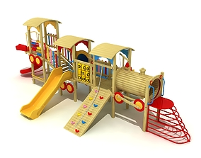 3D model Train Concept Outdoor Wood Playground