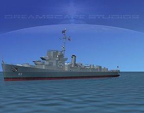 3D model Destroyer Escort DE-63 USS Ira Jeffery
