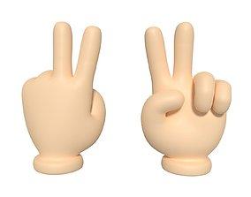 Cartoon Hand - Victory Sign 3D model