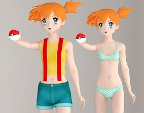 Misty anime girl pose 01 3D