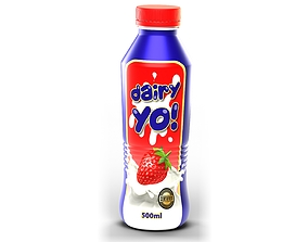 500ml Yoghurt Bottle 3D model
