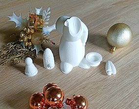 christmas deco - candle holder Santa 3D print model