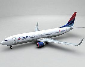 Boeing 737-800 NG Airliner - Delta Airlines 3D asset