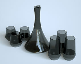 3D model game-ready Black Carafe and Glass