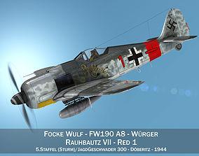 3D model Focke Wulf - FW190 A8 - Rauhbautz VII - Red1