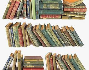 old books on a shelf set 1 3D model