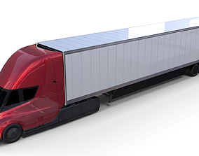 Tesla Truck with Chassis and Trailer Red 3D model