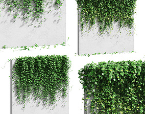 3D model Wall with grape leaves