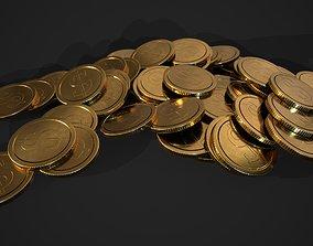 3D model gold coin - dollar design A