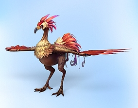 Low Poly Fantasy Bird 3D asset