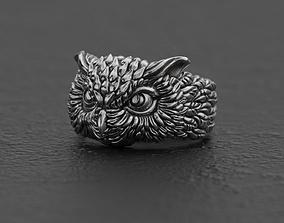 Horned owl ring 3D print model