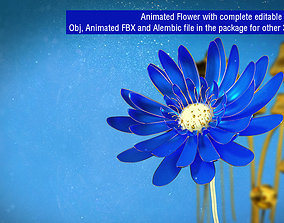animated blossom 3d Blue Flower Animated