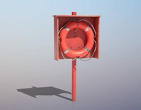 Lifebuoy On Holder 3D asset