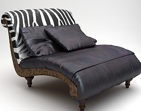 Zebra Settee Lounge Chair Sofa 3D