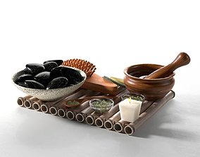 Spa Accessories on Tray 3D model