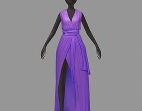 3D asset women summer long lilac dress white high heel