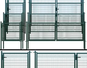 Swing gates wicket fence 3D model