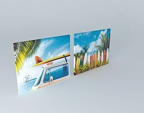 Set 2 Surf canvases houses the world 3D model