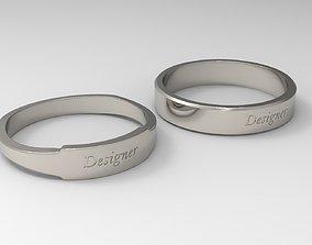 gold-ring Designer Couple Ring Platinum 3D print model