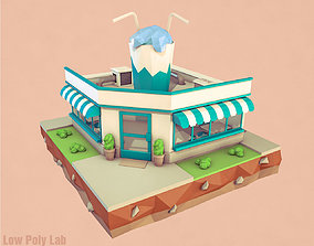 3D asset Cartoon Cocktail Cafe Building