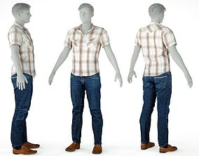 3D asset Male Casual Outfit 60 Shirt Trousers Footwear