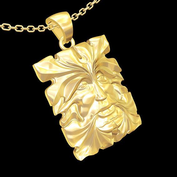 Tree Face Sculpture pendant jewelry gold necklace medallion 3D print model