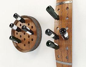 3D model Wine barrel bottles