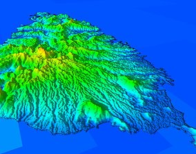 3D terrain model of Saint Lucia island