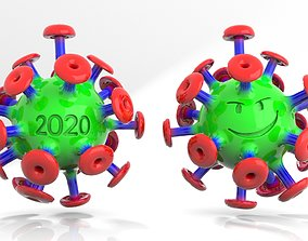 3D Cartoon Corona Virus
