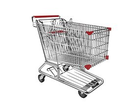 Shopping Trolley 3D model low-poly poducts