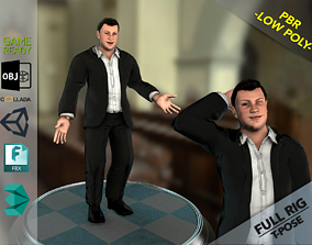 Man in Suit 3D asset rigged