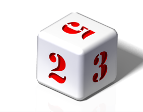 3D print model numeric dice