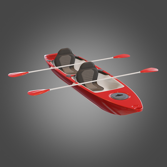 Canoe Red PBR Subdivision READY Low-poly