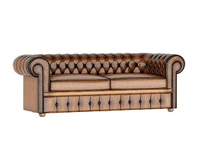 3D Classical Leather Sofa 2 places