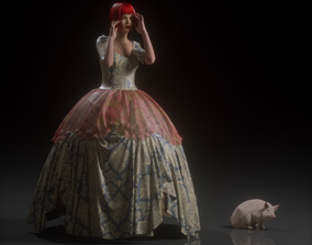 Rococo Dress 3D model