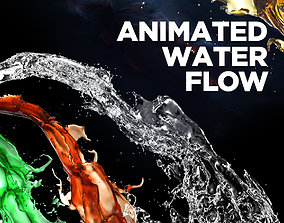 animated High quality realistically pouring 3d water flow