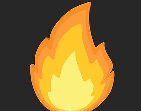 Cartoon Fire Icon 3D model