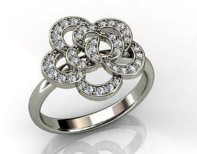 3D print model Diamond White Gold Flower Ring