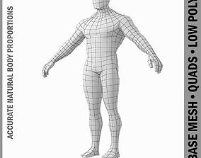 Bodybuilder Male Base Mesh in A Pose 3D model