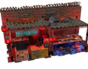 Steampunk noodle bar ramen shop Bladerunner style 3D asset
