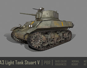 3D model M3A3 Light Tank Stuart V PBR