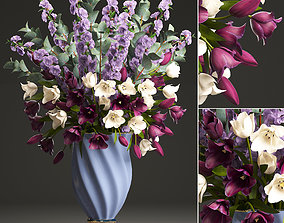 Bouquet of spring flowers tulips 3D model