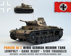 Low Poly Panzer III E medium tank 3D model