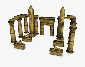 3D model Egyptian temple entrance elements